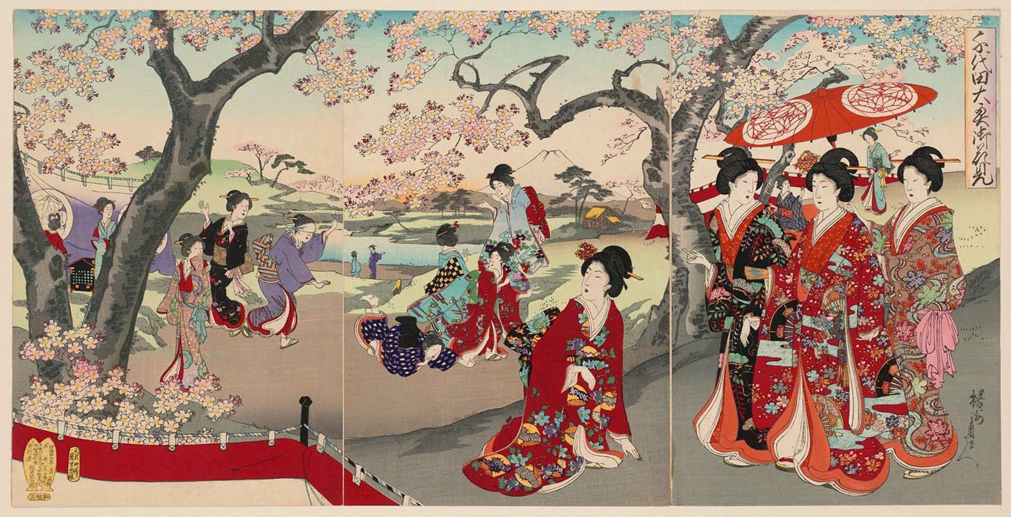 Χανάμι στις ανθισμένες κερασιές - Τογιοχάρα Τσικανόμπου 豊原周延 (1838–1912)